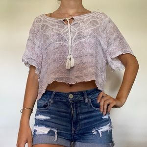 Flowy Silver/white/light pink Blouse
